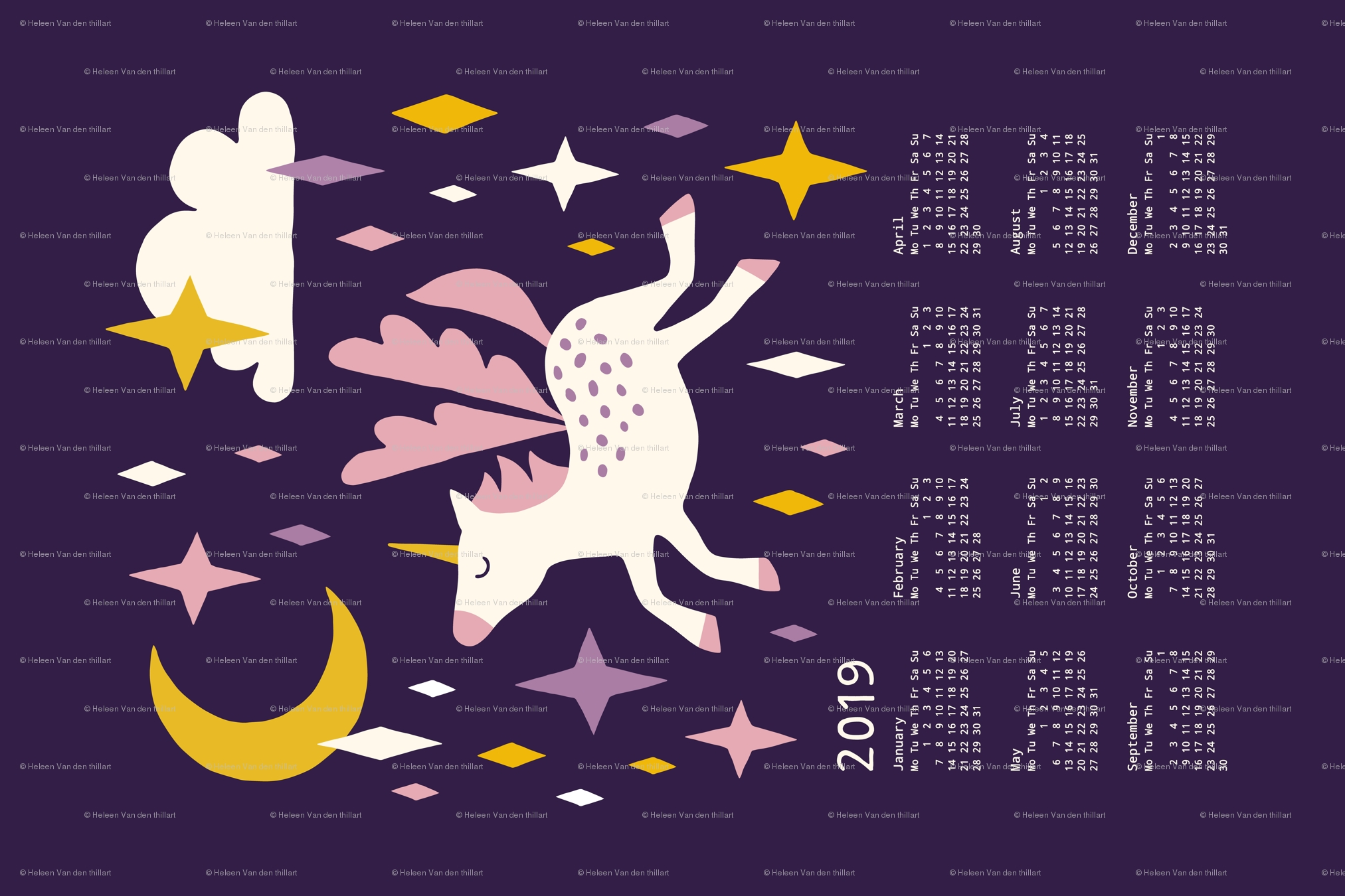 Unicorn Calendar 2019 Purple Wallpaper – Heleen Vd Thillart Calendar 2019 Unicorn