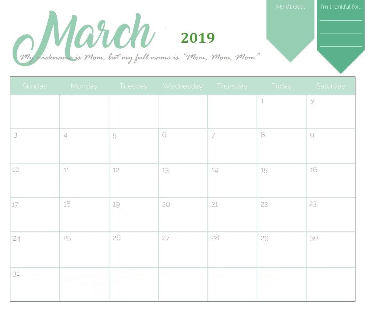 Unique March 2019 Calendar Template | Calendar 2018 | Pinterest Calendar 2019 Template