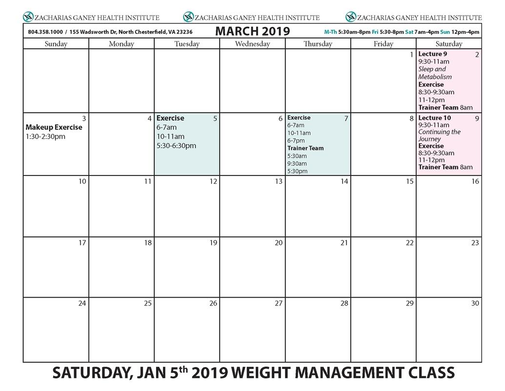 Upcoming 10 Wk Healthy Lifestyle Weight Management Class Calendars W&m Calendar 2019