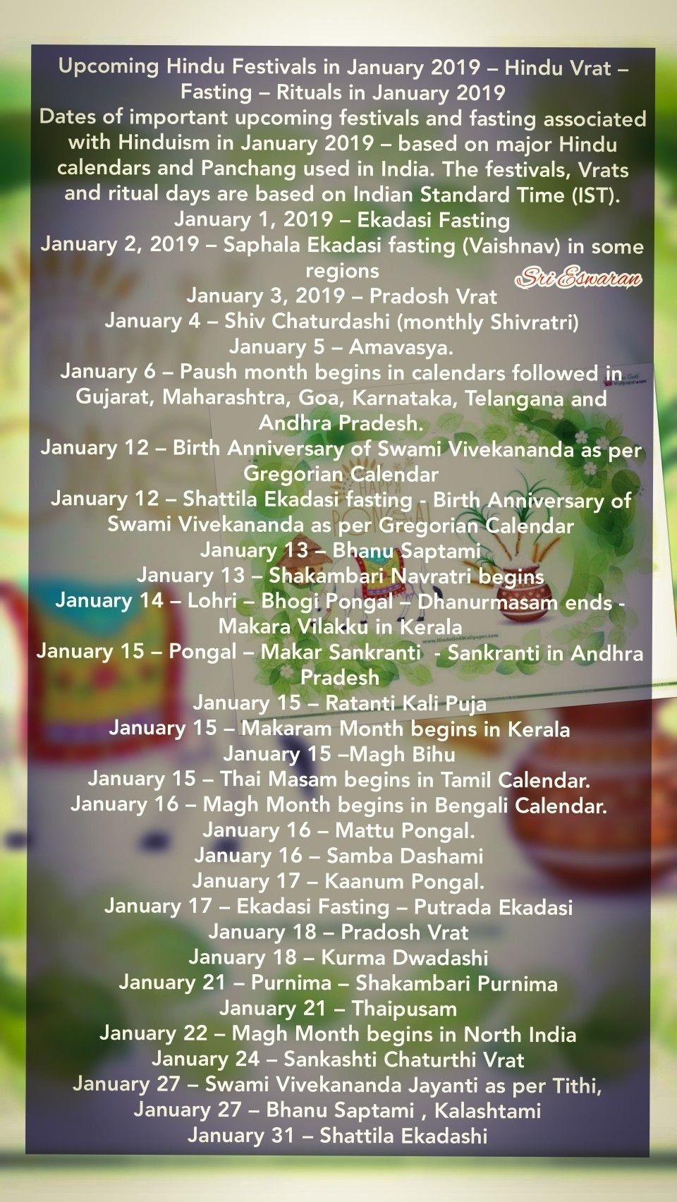 Upcoming Hindu Festivals In January 2019 – Hindu Vrat – Fasting Calendar 2019 Vrat