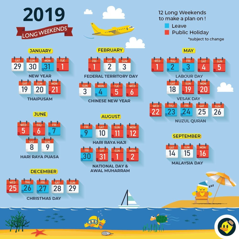 Updated With School Holiday) 12 Long Weekends For Malaysia In 2019 Calendar 2019 National Holidays
