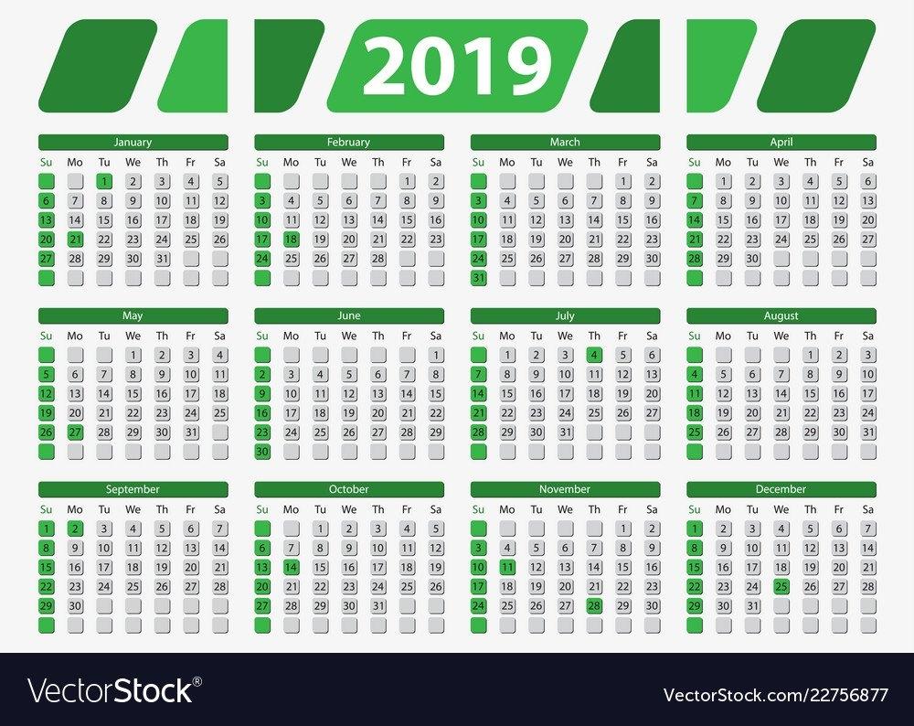 Usa Calendar 2019 With Official Holidays 5X7 In Vector Image Calendar 2019 5X7