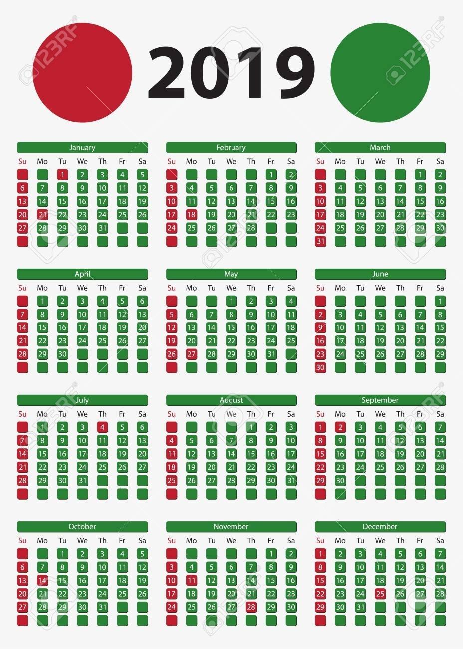 Usa Vertical Calendar 2019, 5X7 Inches – Official Holidays And Calendar 2019 5X7