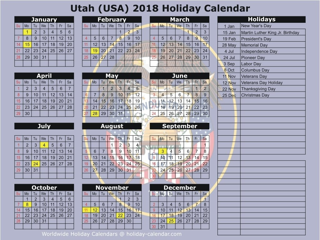 Utah (Usa) 2018 / 2019 Holiday Calendar Calendar 2019 Ut