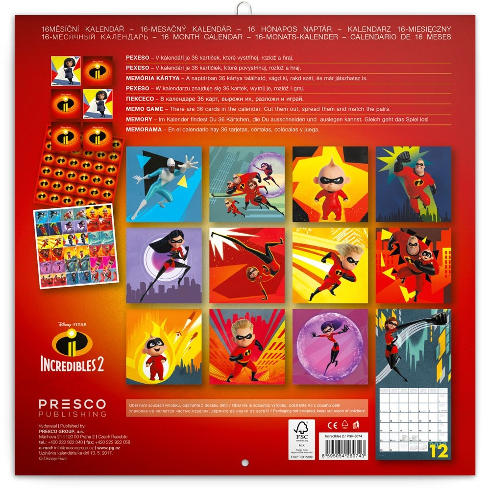Úžasňákovi 2 Incredibles 2 Calendar 2019