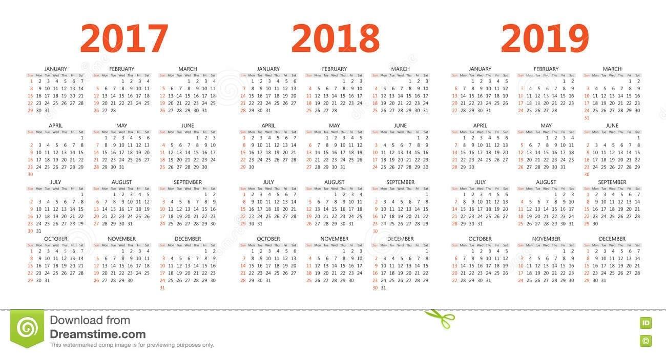 Vector Calendar Templates 2017, 2018, 2019 Stock Vector Calendar 2019 Eps