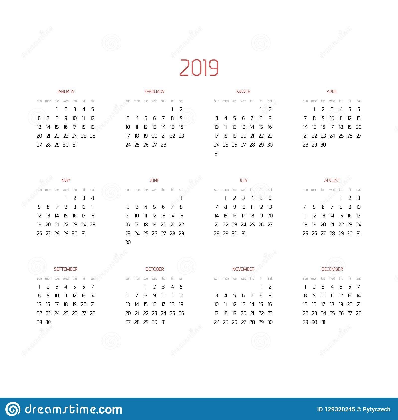 Vector Calendar – Year 2019. Week Starts From Sunday. Simple Flat Maroon 5 Calendar 2019