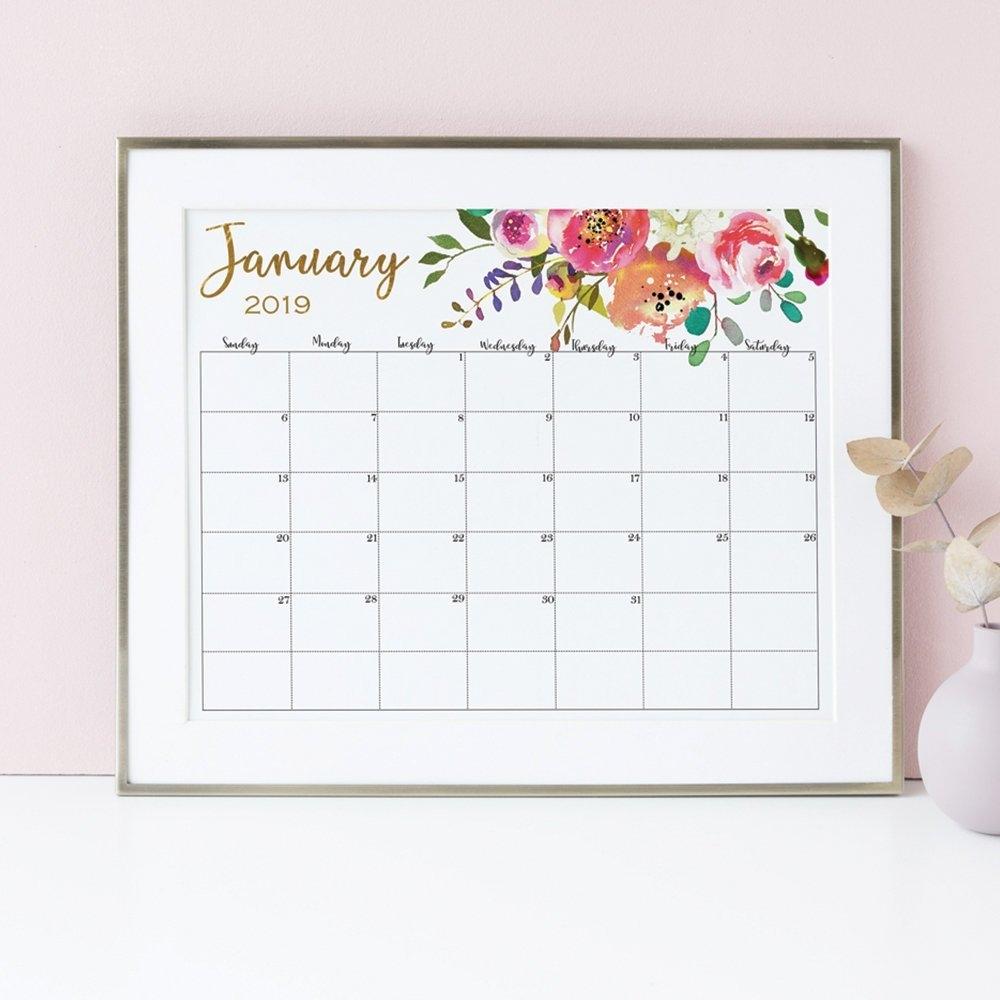 Wall Calendar 2019 Calendar Printable Floral Watercolor Large | Etsy Calendar 2019 Etsy