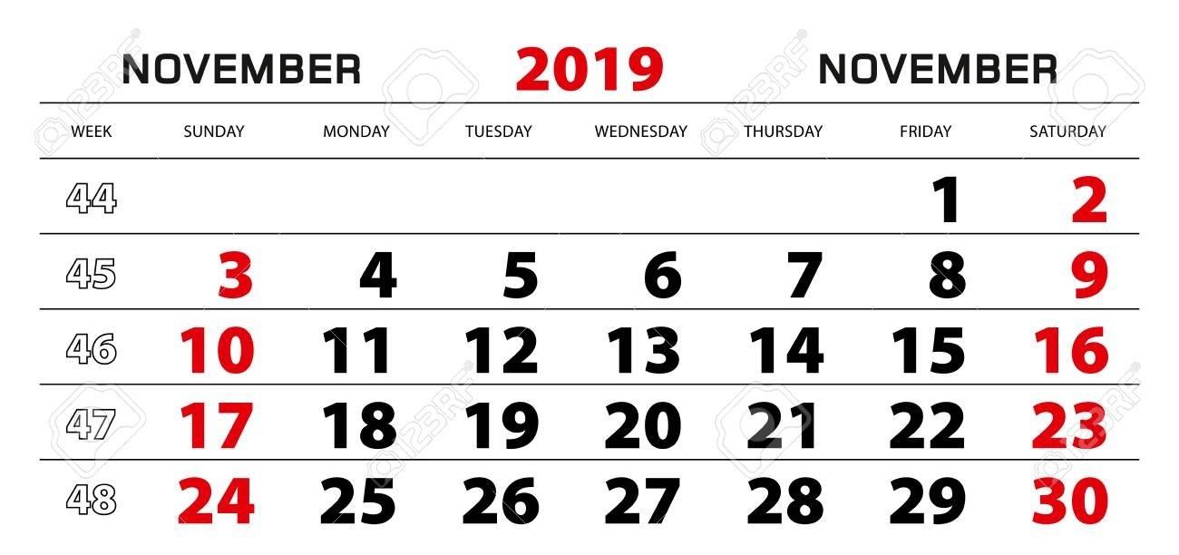 Wall Calendar 2019 For November, Week Start From Sunday. Block Calendar Week 46 2019