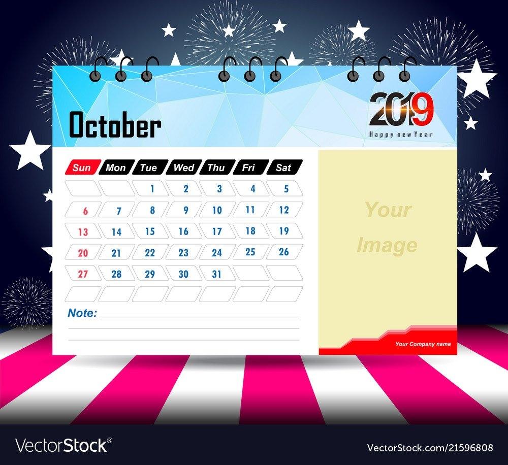 Wall Calendar 2019 Planner Template Design Print Vector Image Calendar 2019 Design