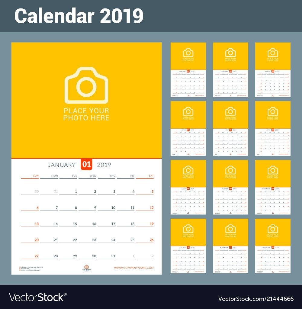 Wall Calendar For 2019 Year Design Print Template Vector Image Calendar Week 46 2019