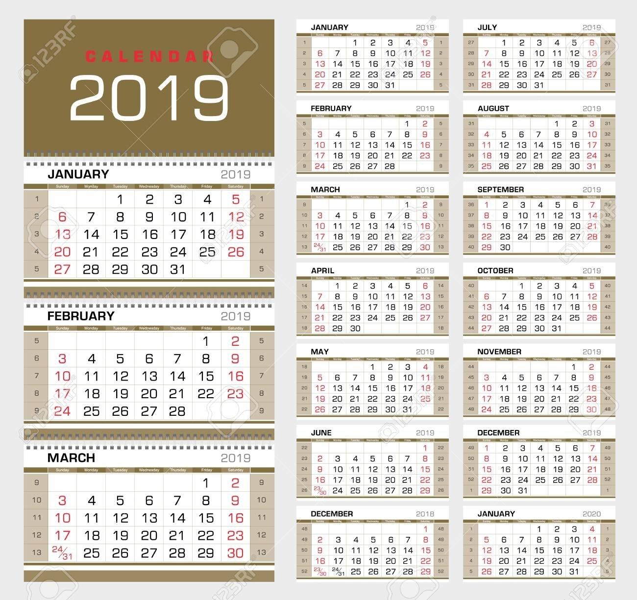 Wall Quarterly Calendar 2019 With Week Numbers. Week Start From Week 5 Calendar 2019