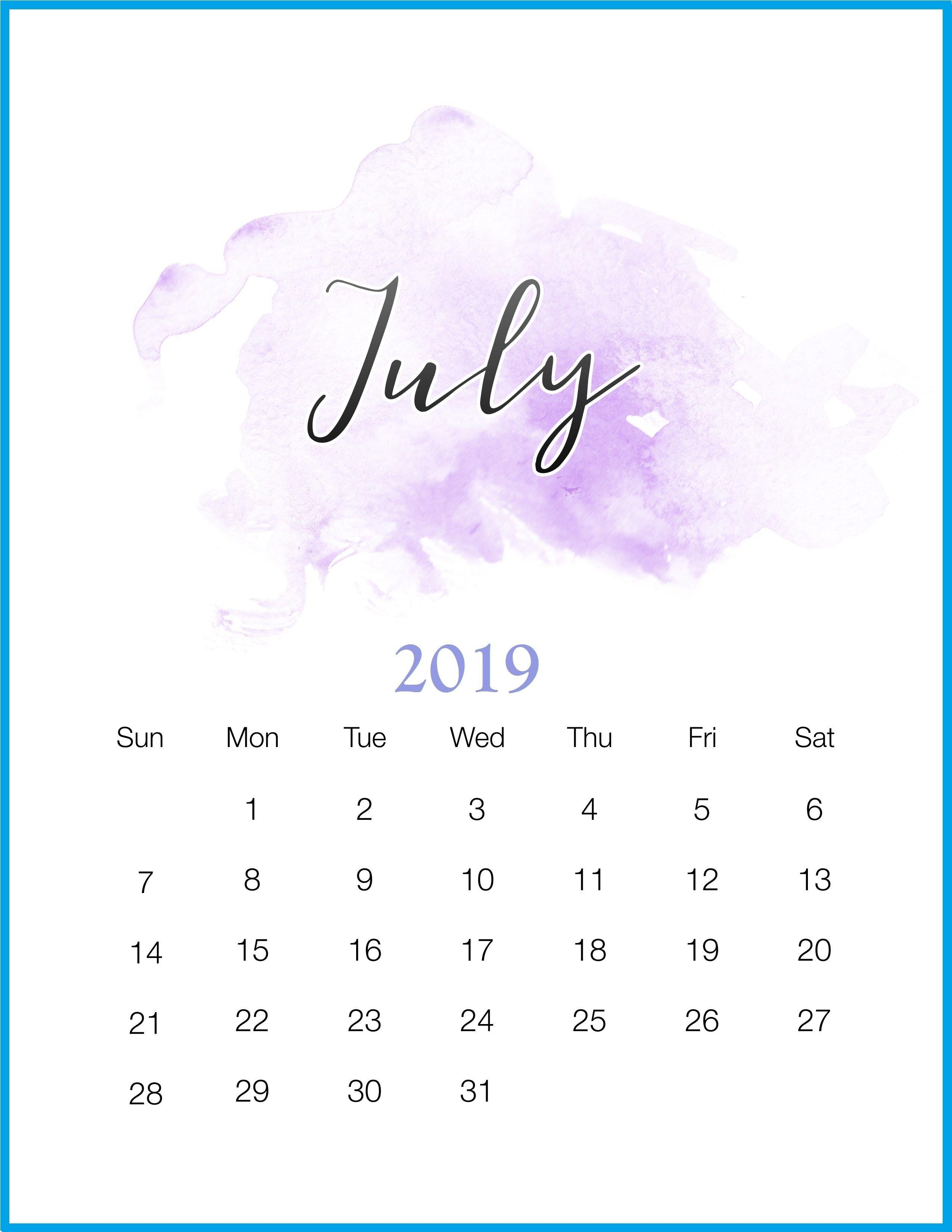 Watercolor 2019 July Printable Calendar   Letras Y Margenes Y 2019 Calendar