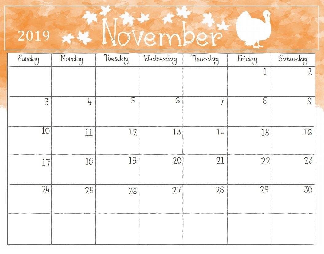 Watercolor November 2019 Calendar   Calendar 2018   Pinterest Calendar 2019 November