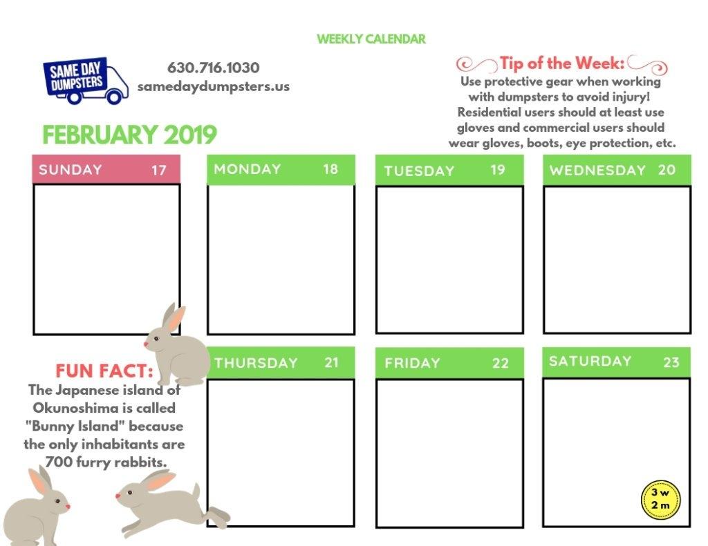 Weekly Calendar 2 2019 Week 3 | Same Day Dumpsters Rental Calendar 2019 Same As