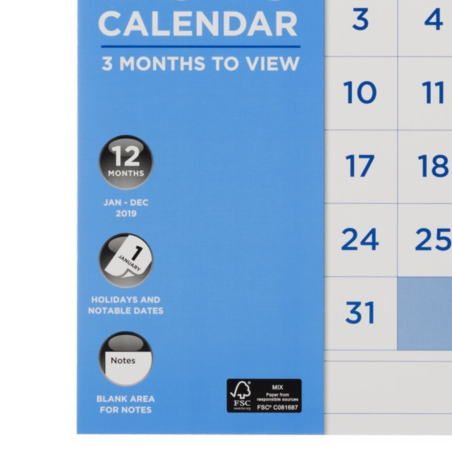 Whsmith Large Wall Calendar 2019 3 Months To View With Blank Area W H Smith Calendar 2019