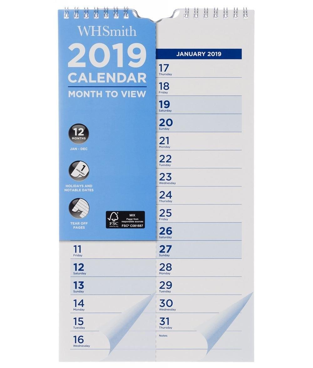 Whsmith Medium Wall Calendar 2019 Month To View 310.0 X 170.0 X 4.0 W H Smith Calendar 2019