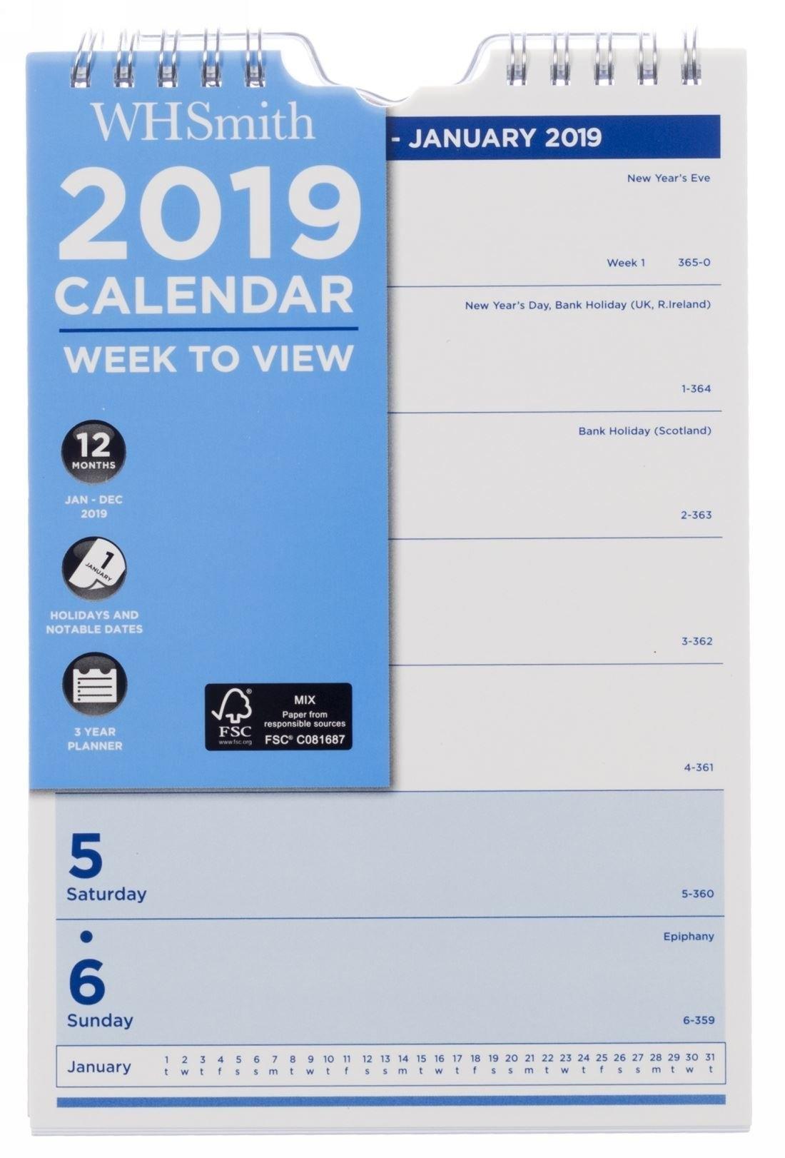 Whsmith Small Wall Calendar 2019 Week To View 220.0 X 140.0 X 10.0 W H Smith Calendar 2019