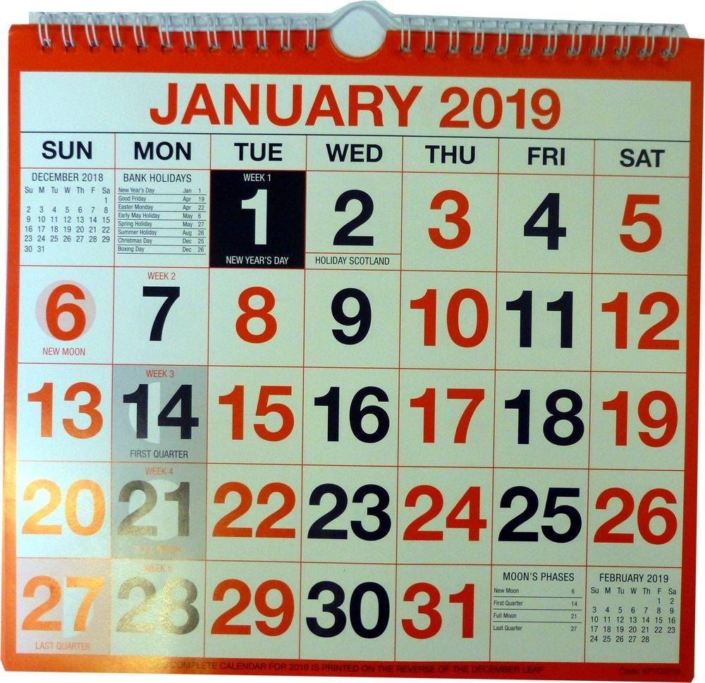 Wirebound Wall Calendar 249Mm X 231Mm Kfyc2219 2019 Letts Yearly Calendar 2019 5 Tyc