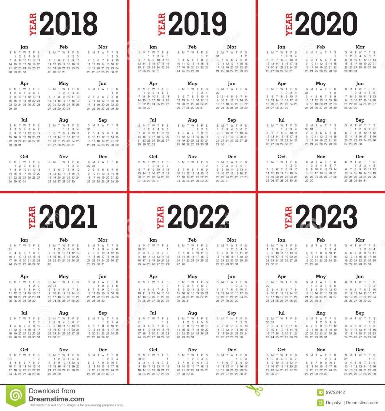 Year 2018 2019 2020 2021 2022 2023 Calendar Vector Stock Vector 4 Year Calendar 2019 To 2022