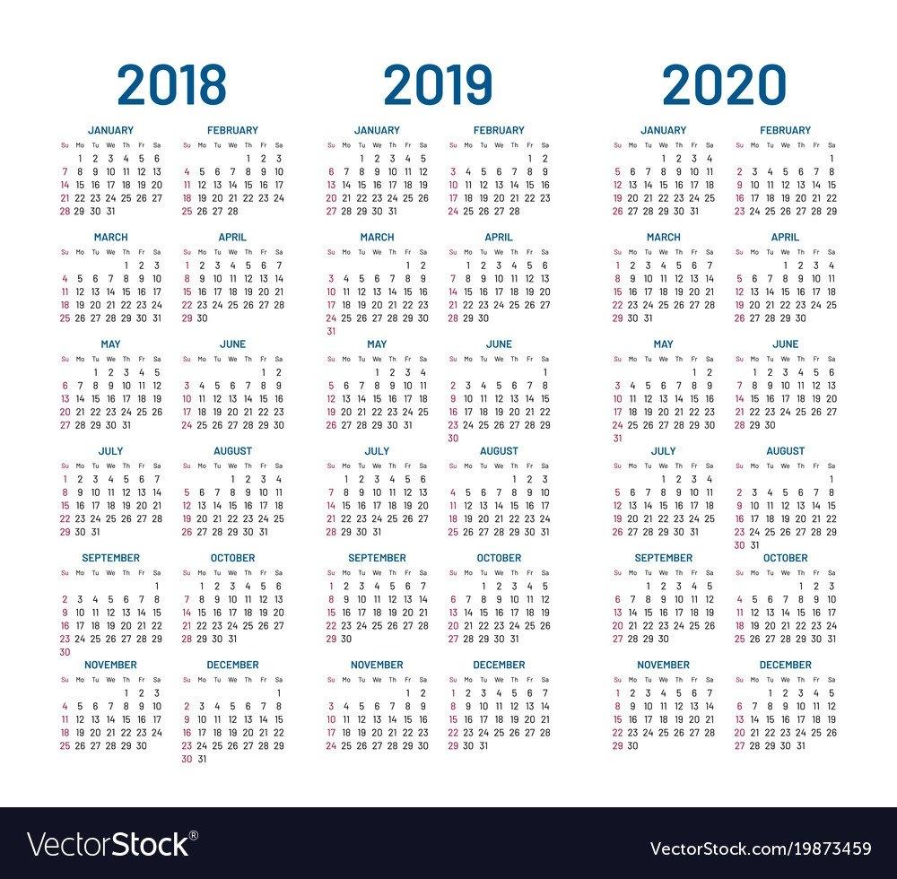 Year 2018 2019 2020 Calendar Royalty Free Vector Image Calendar 2019 To 2020