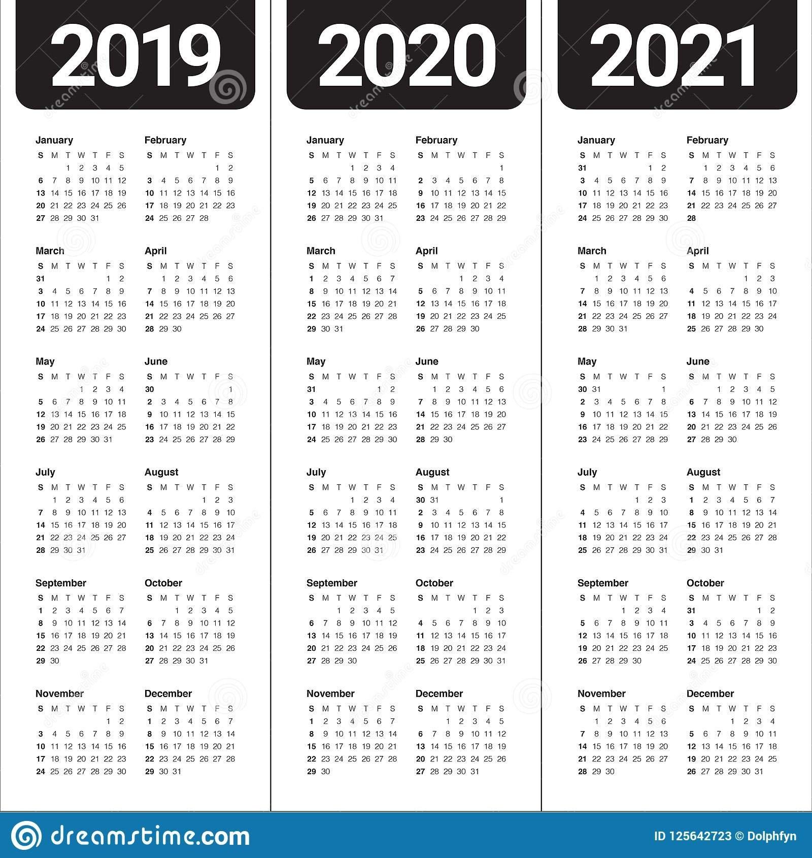 Year 2019 2020 2021 Calendar Vector Design Template Stock Vector 3 Year Calendar 2019 To 2021