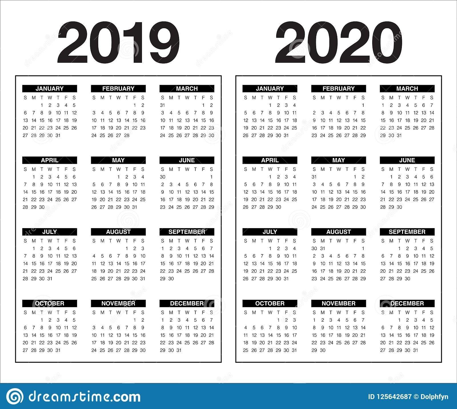 Year 2019 2020 Calendar Vector Design Template Stock Vector Calendar 2019 And 2020