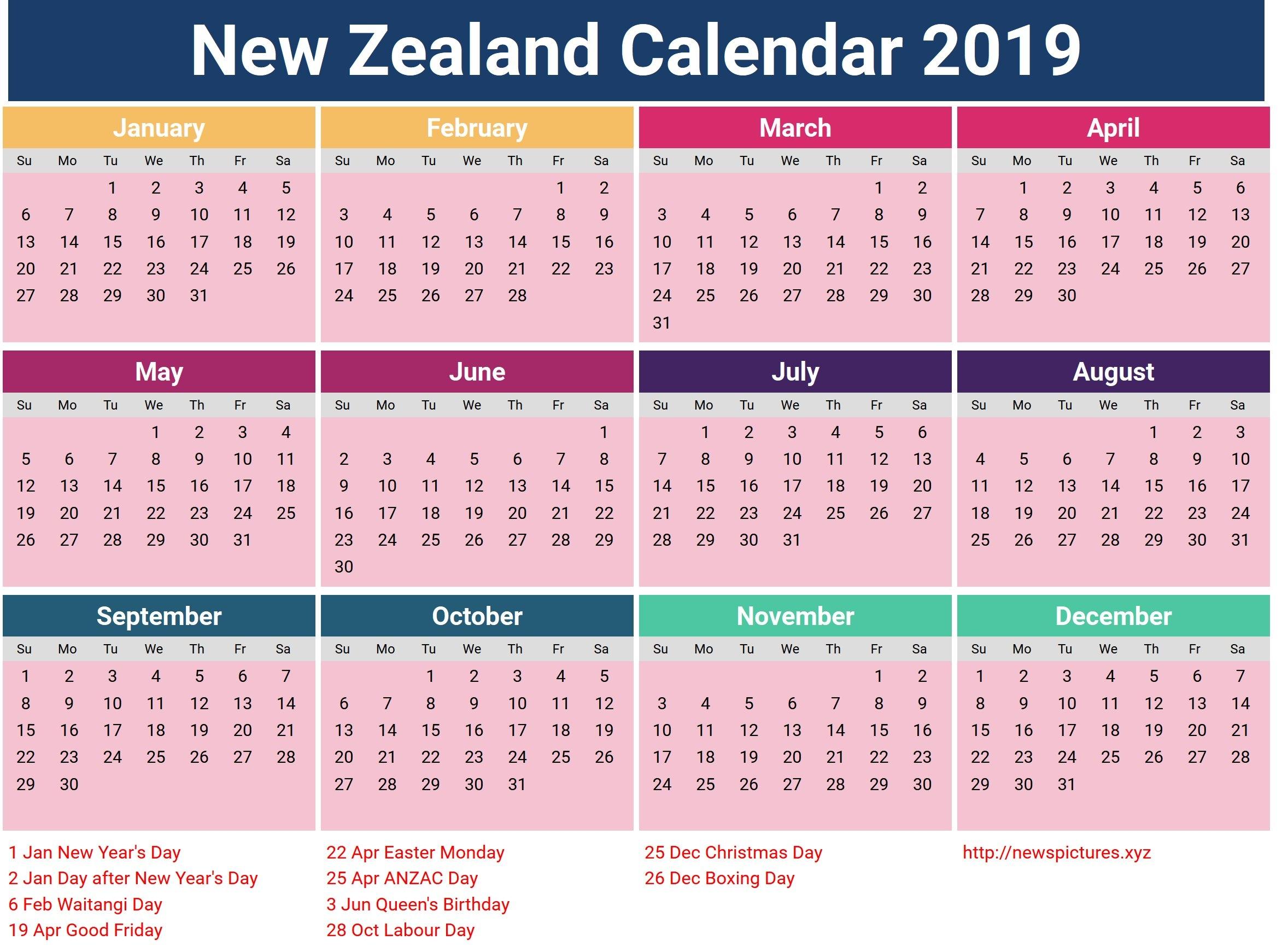 Year 2019 Calendar Nz – Littledelhisf Calendar 2019 Zealand