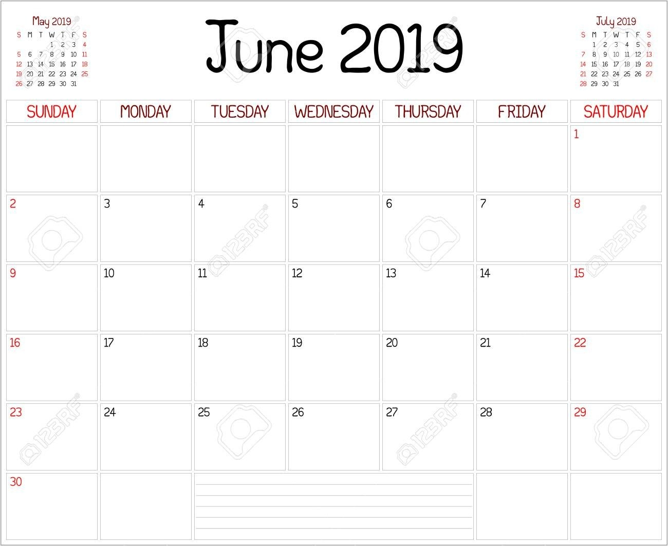 Year 2019 June Planner – A Monthly Planner Calendar For June 9/2019 Calendar
