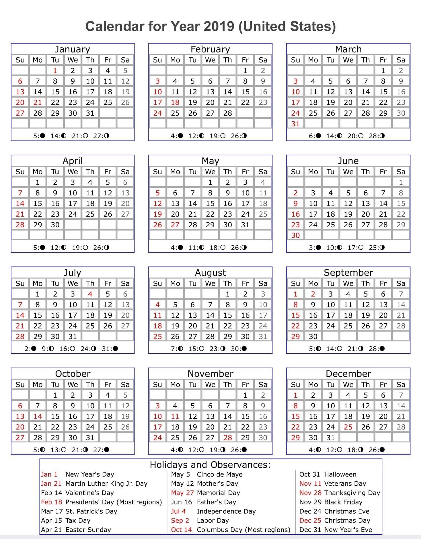 Year Calendar 2019 Template Us Holidays – Printable 2018 Calendars Calendar 2019 With Us Holidays