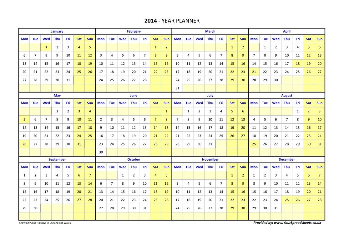Year Planner Calendar 2019 Excel Germany