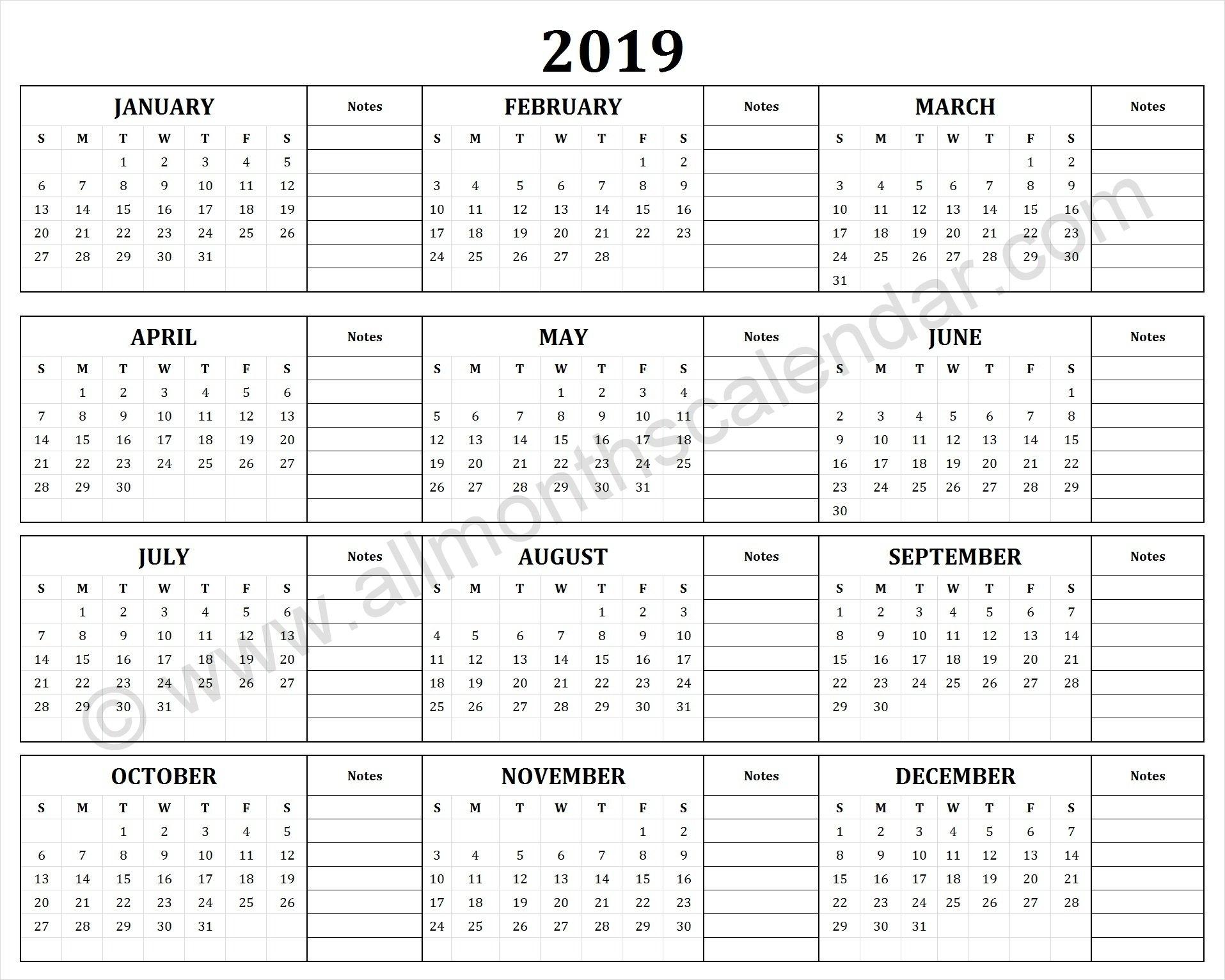 Yearly 2019 Yearly Calendar | 12 Month 2019 Calendar Printable Calendar 2019 Notes