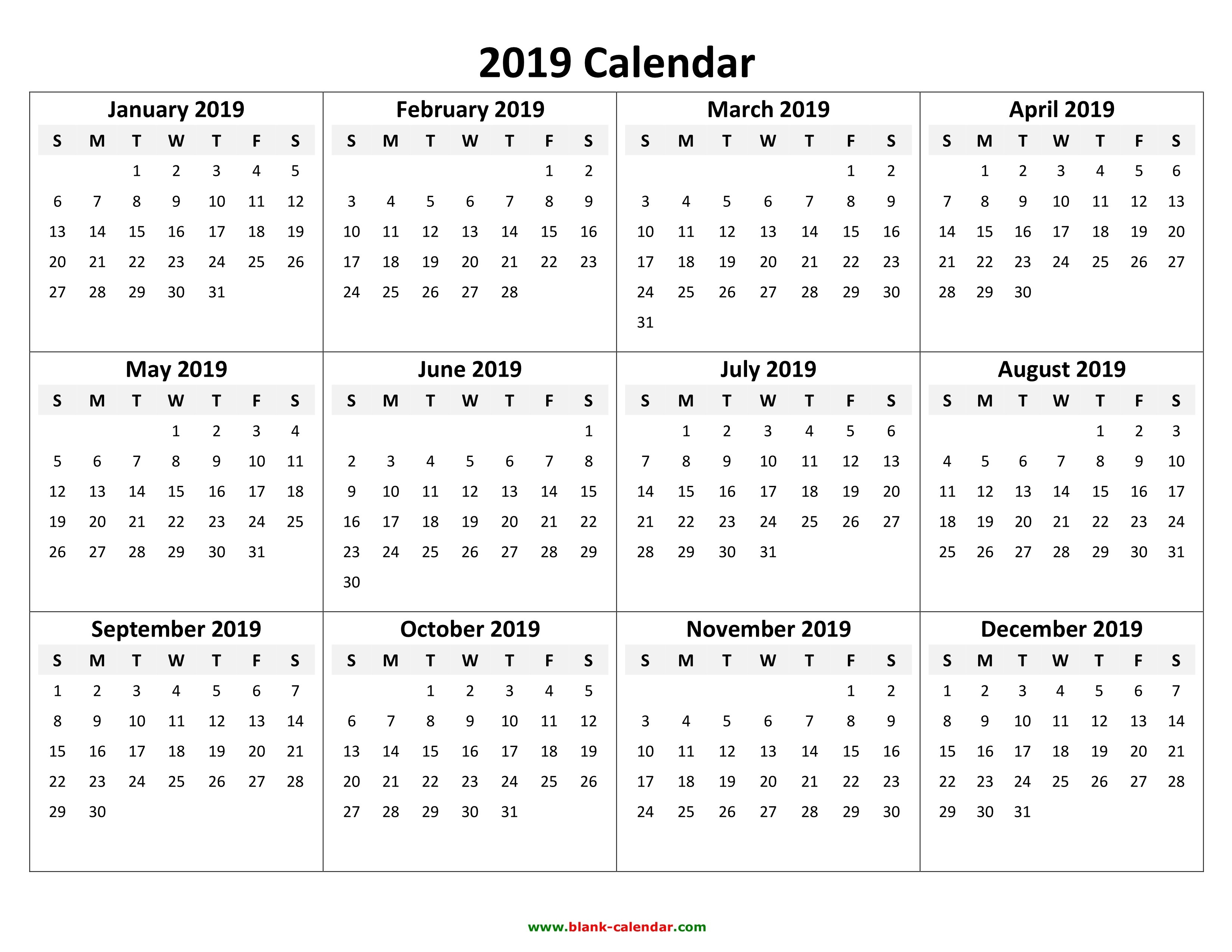 Yearly Calendar 2019   Free Download And Print 2019 Calendars