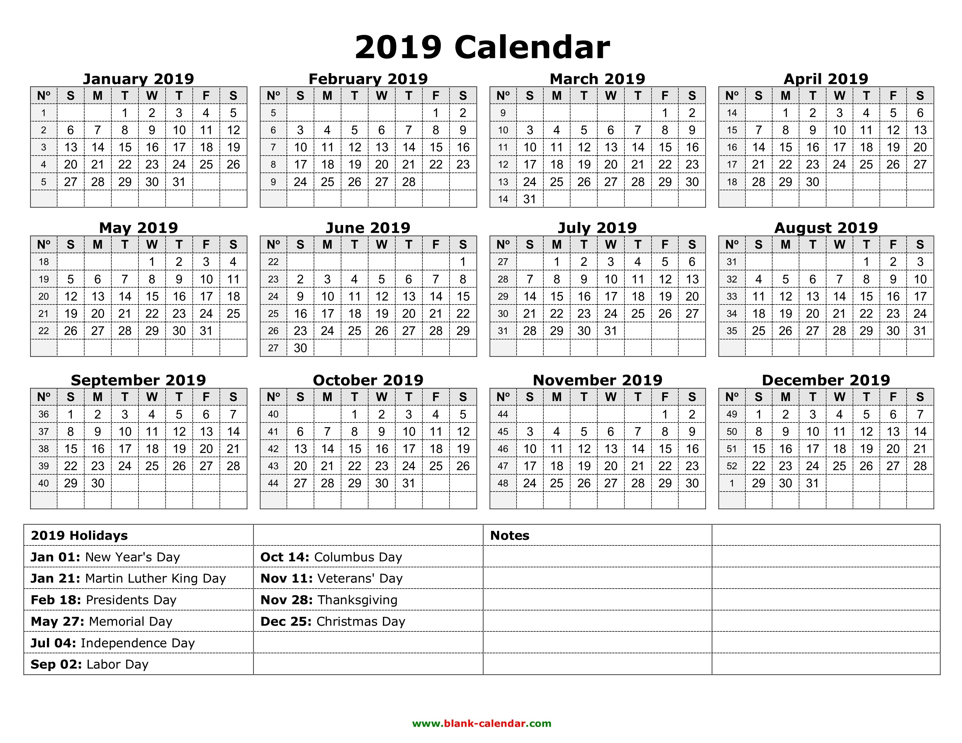Yearly Calendar 2019 | Free Download And Print Calendar 2019 Free Print