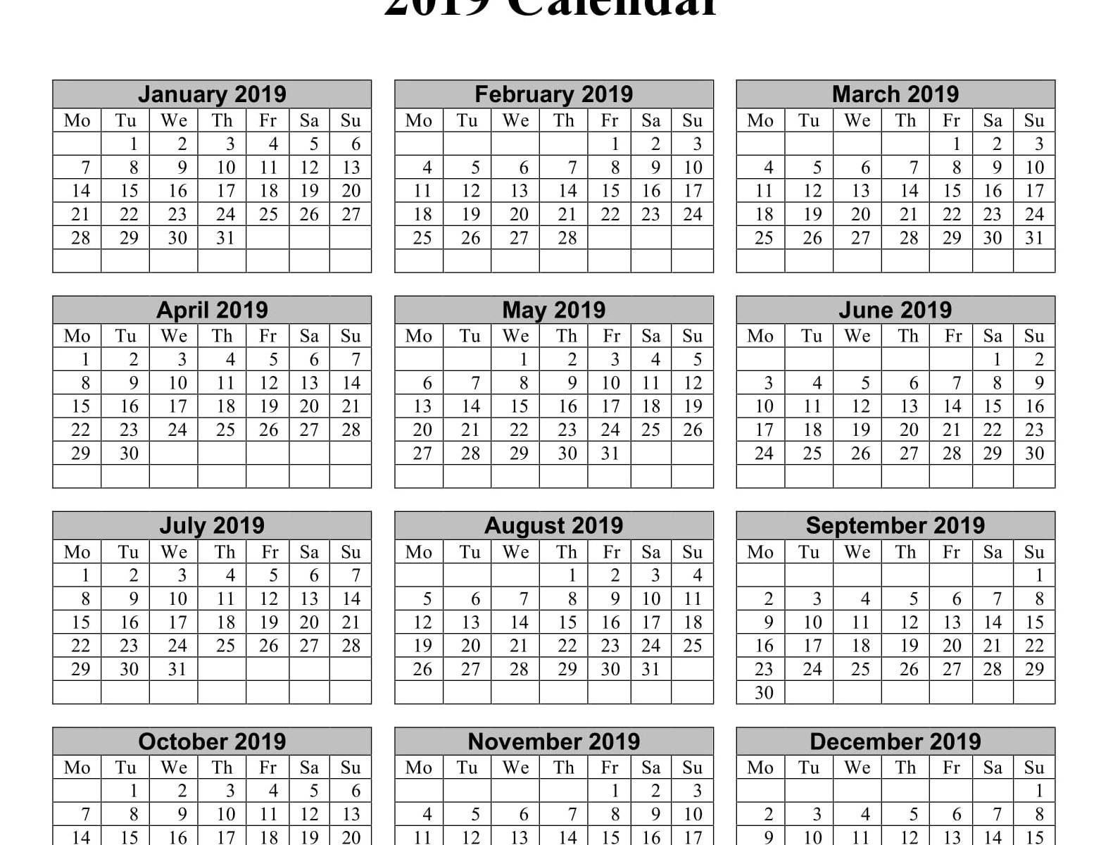 Yearly Calendar 2019 Word Doc   Free Printable 2018 Calendar Calendar 2019 Doc