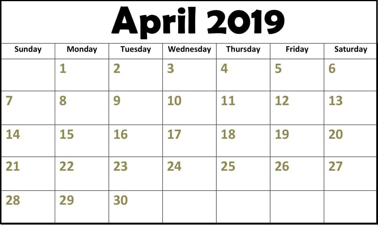 025 Word Printable Calendar April Amazing 2019Month Microsoft Calendar 2019 Microsoft Word