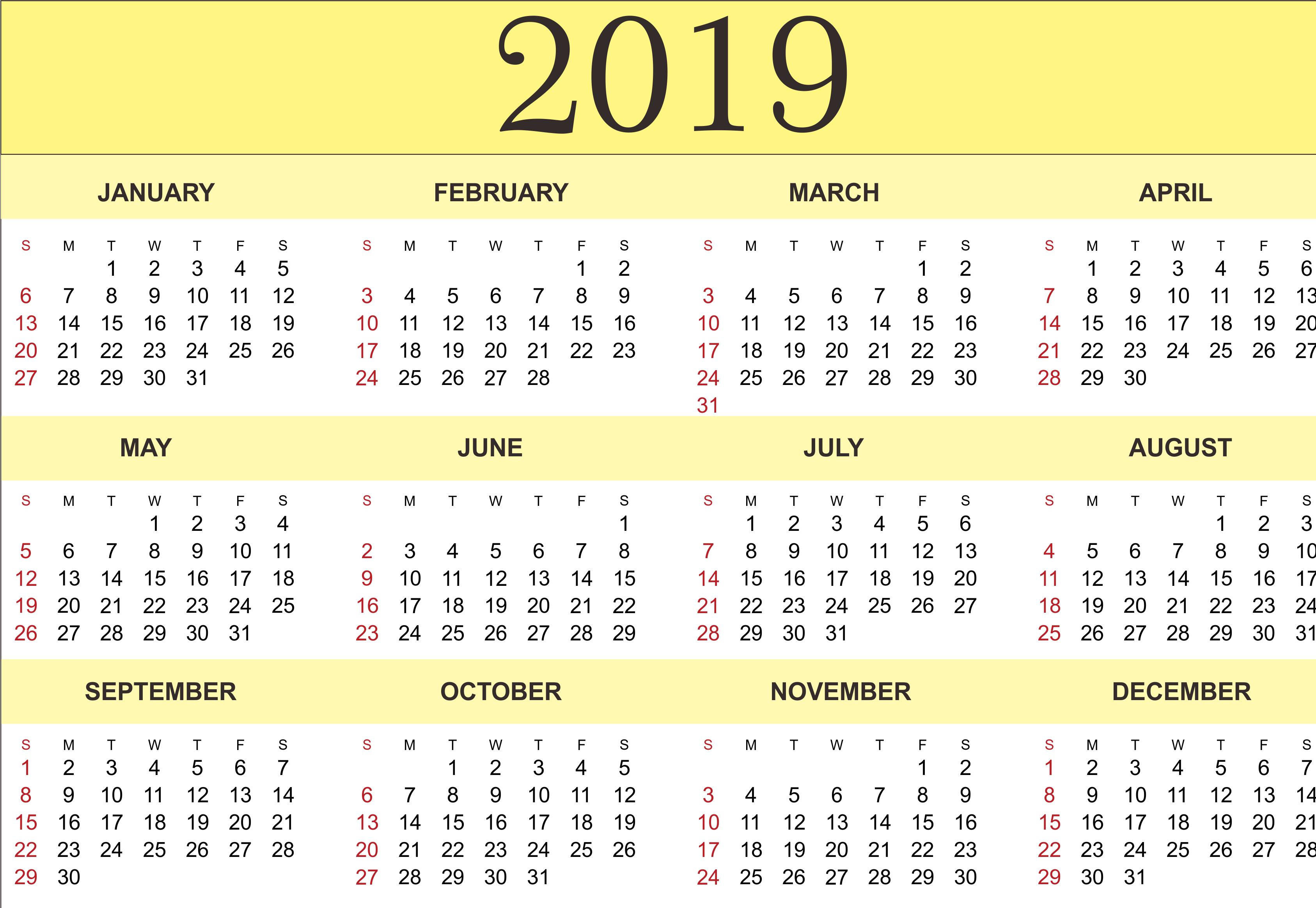 047 Printable Word Sensational 2019 Calendar Free Monthly Template G 2019 Calendar