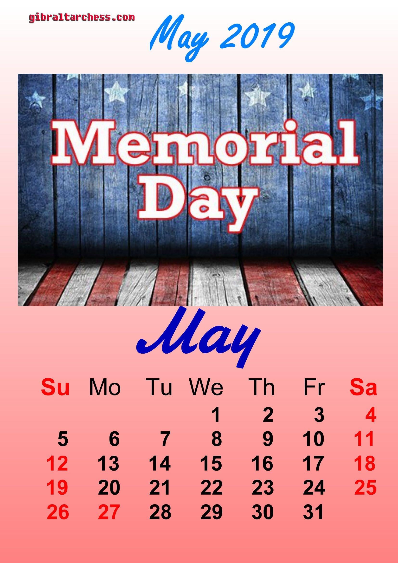 1 May 2019 Holidays Calendar Memorial Day | Calendar Template Calendar 2019 Memorial Day