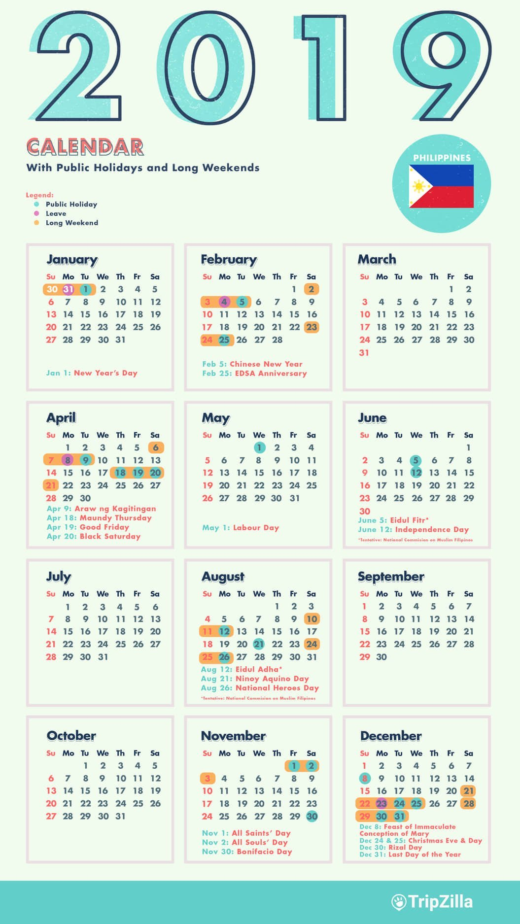 10 Long Weekends In The Philippines In 2019 With Calendar & Cheatsheet Calendar Of 2019 With Holidays