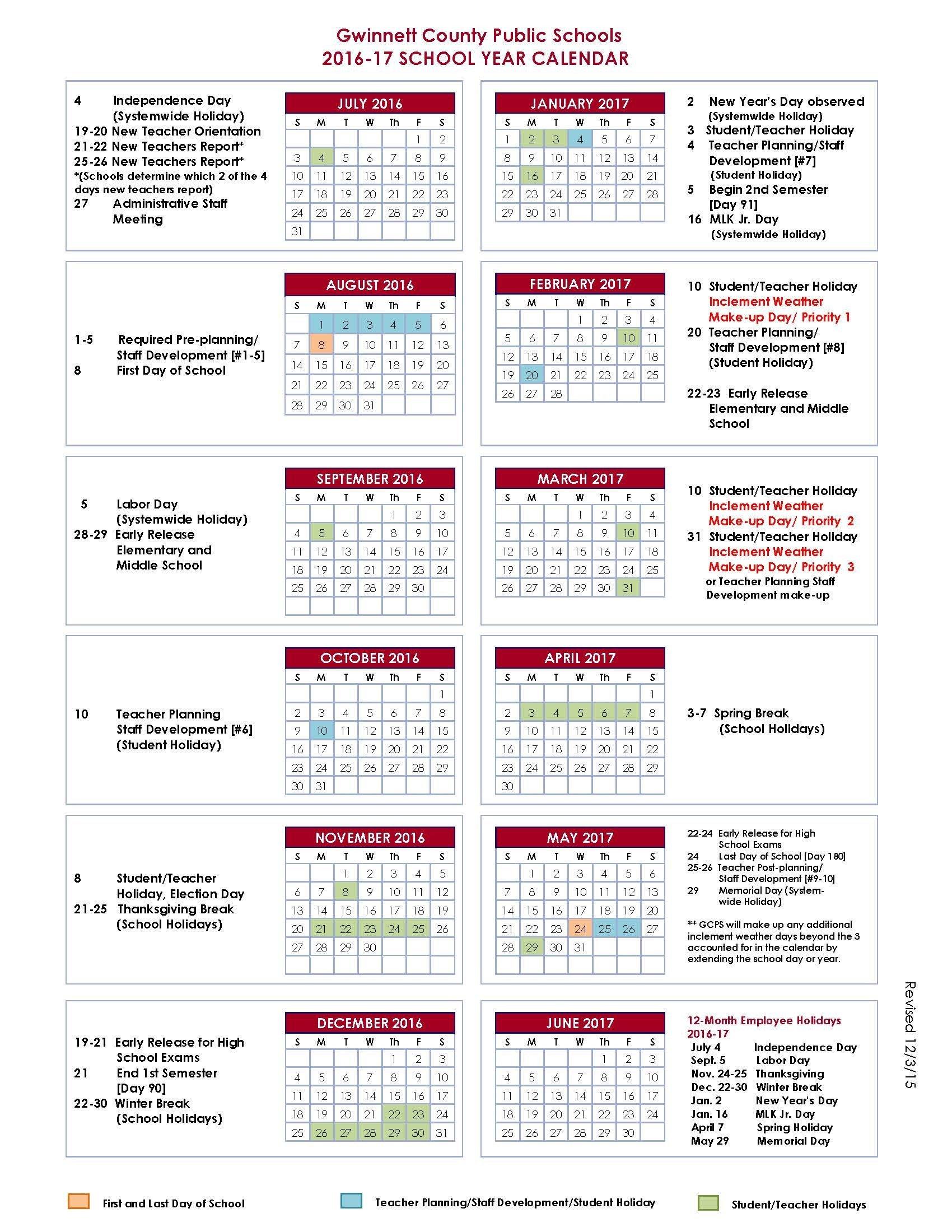 16 Gwinnett County Schools Calendar | Nicegalleries Gwinnett County School Calendar 2019 20