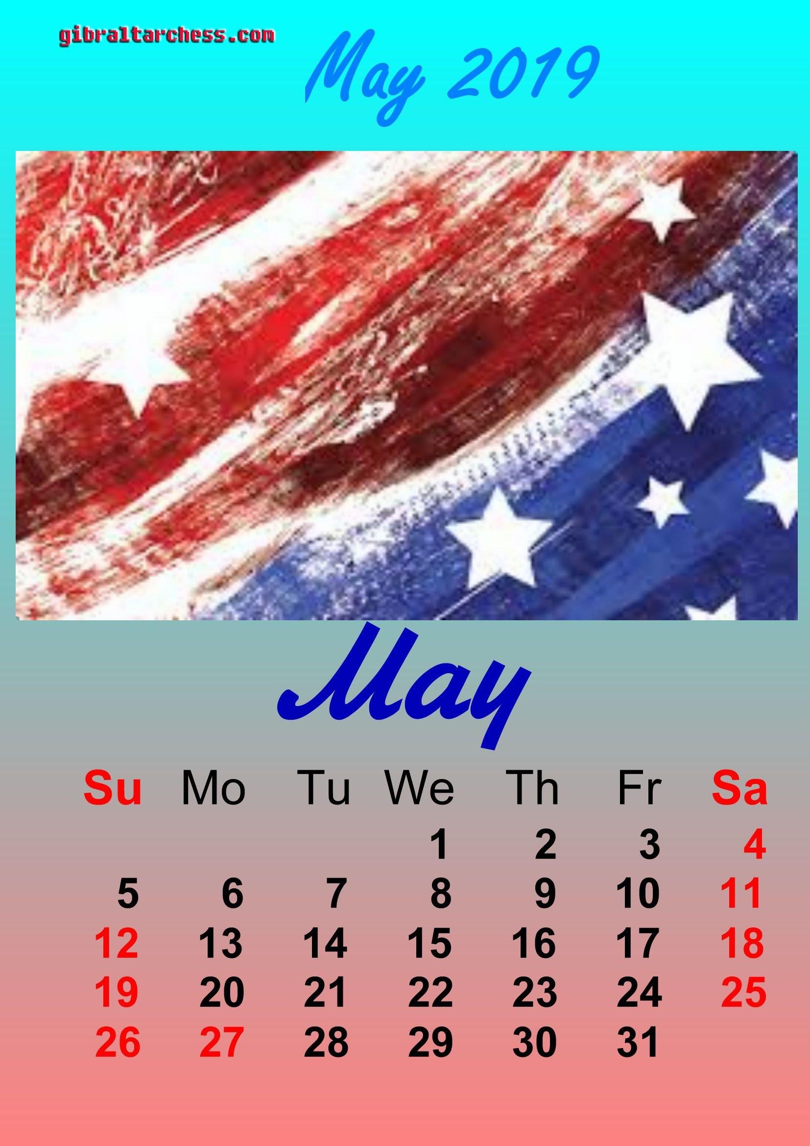 2 May 2019 Holidays Calendar Memorial Day | Calendar Template Calendar 2019 Memorial Day