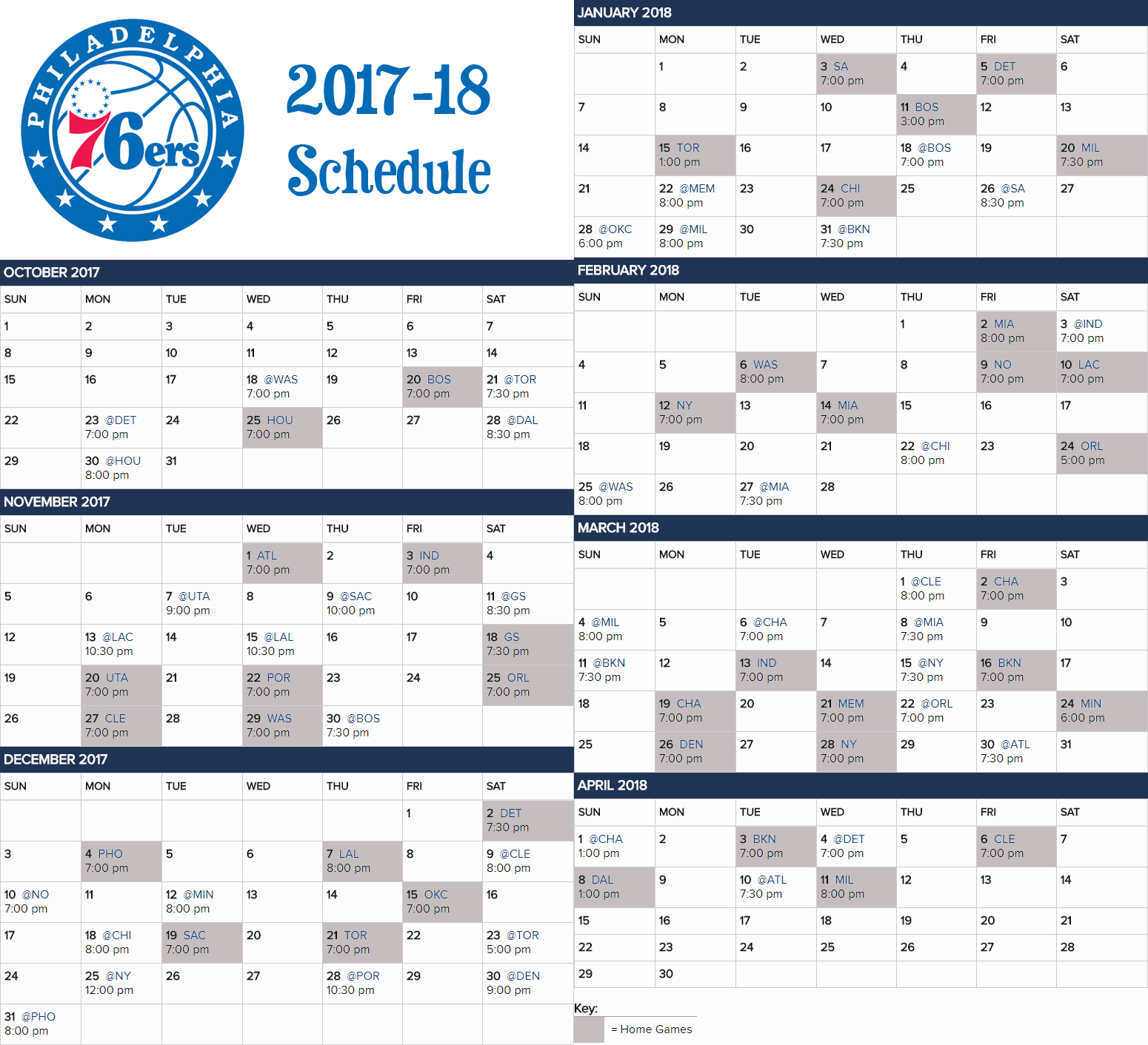 2017 18 76Ers Calendar Schedule For Those Who Like The Visual. : Sixers 76Ers Calendar 2019