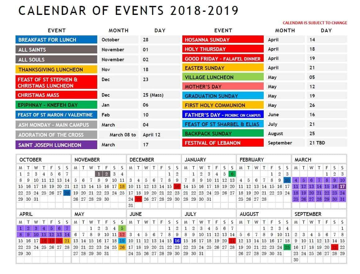 2018/2019 Calendar Or Events – Saint Stephen Maronite Catholic Church Calendar 2019 Catholic