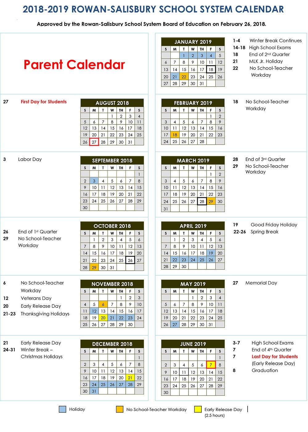 2018 2019 Calendars | Rss Post – Rowan Salisbury Schools School District 2 Calendar 2019