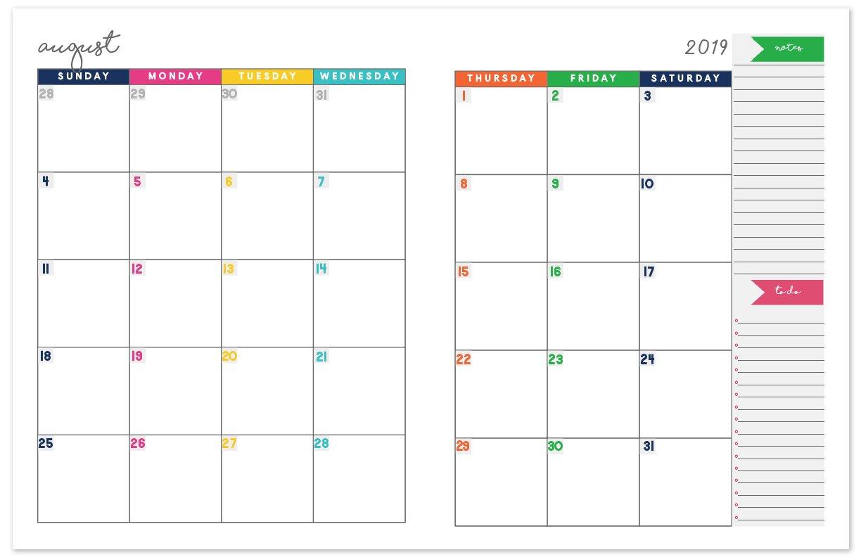 2018 2019 Monthly Planner Calendar | Free Printable Planner Calendar 2019 Planner