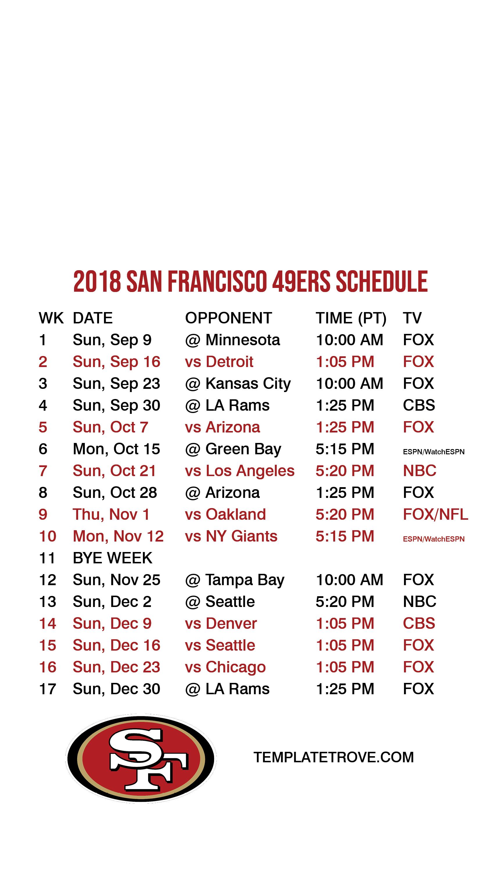 2018 2019 San Francisco 49Ers Lock Screen Schedule For Iphone 6 7 8 Plus 49Ers Calendar 2019