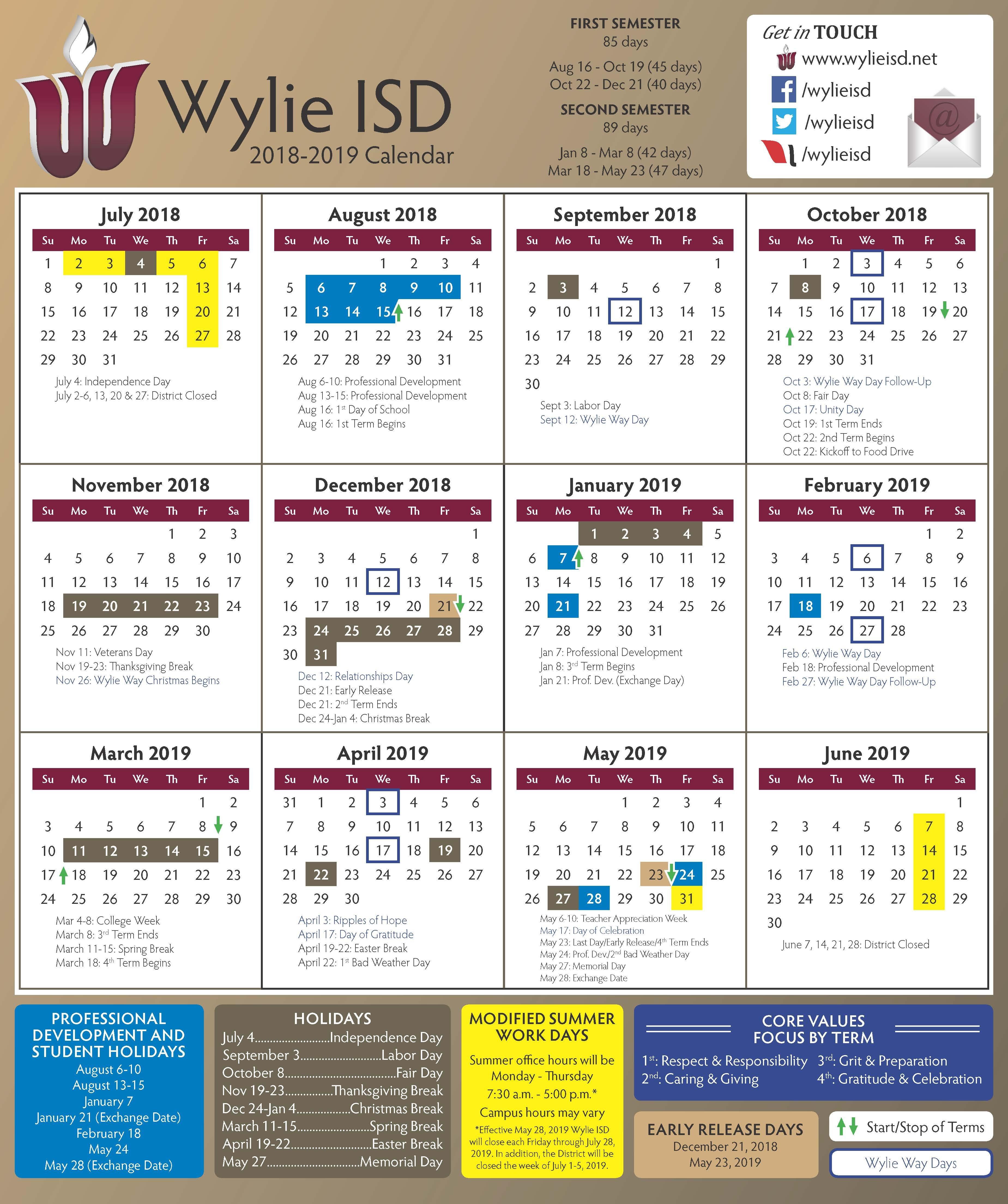 2018 2019 School Calendar Approved 544 Calendar 2019
