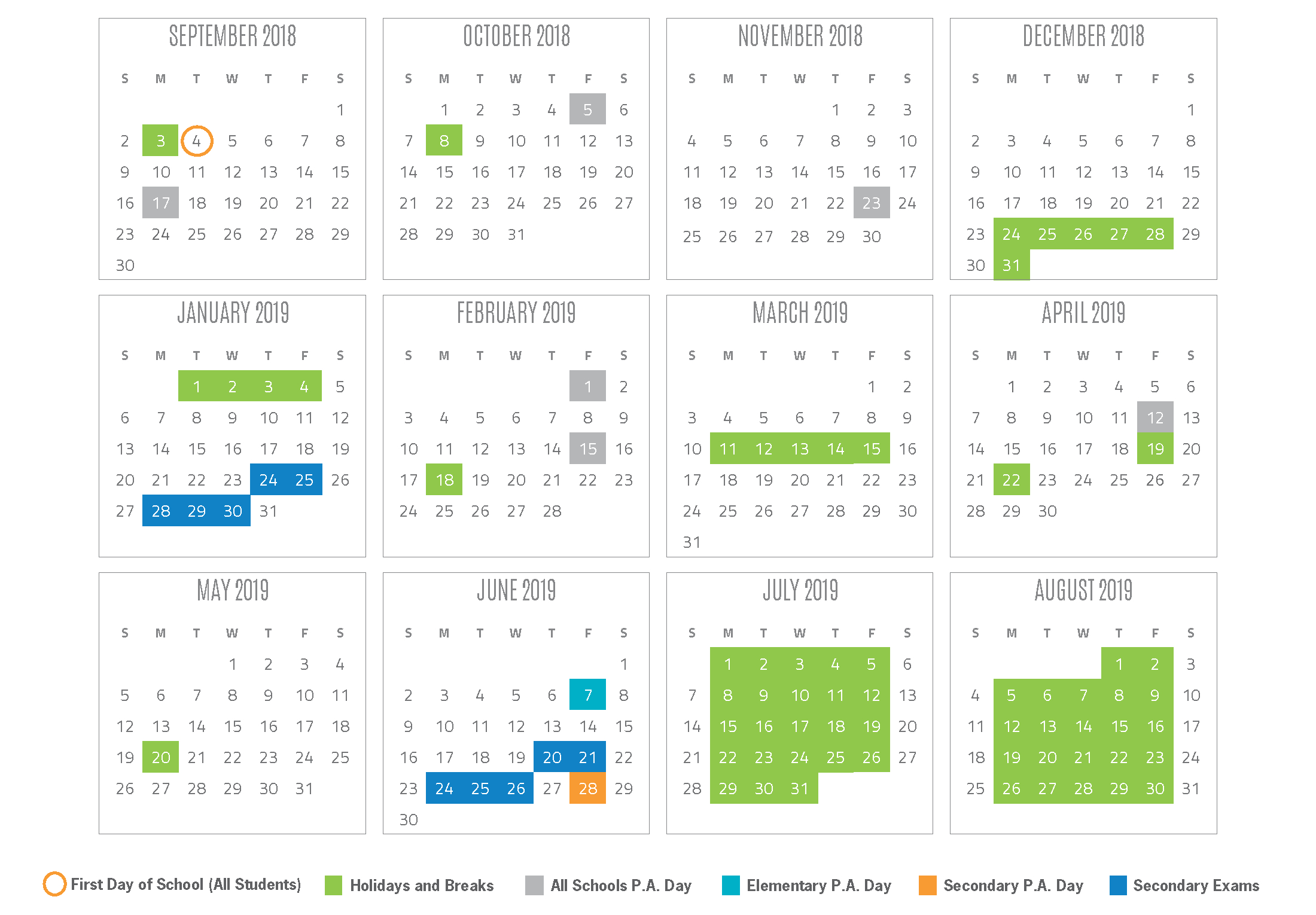 2018 2019 School Year Calendar District 6 Calendar 2019