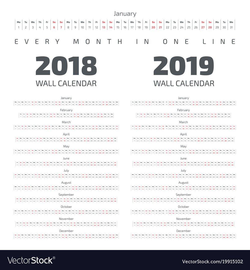2018 2019 Wall Calendar Royalty Free Vector Image Calendar 2019 For Wall
