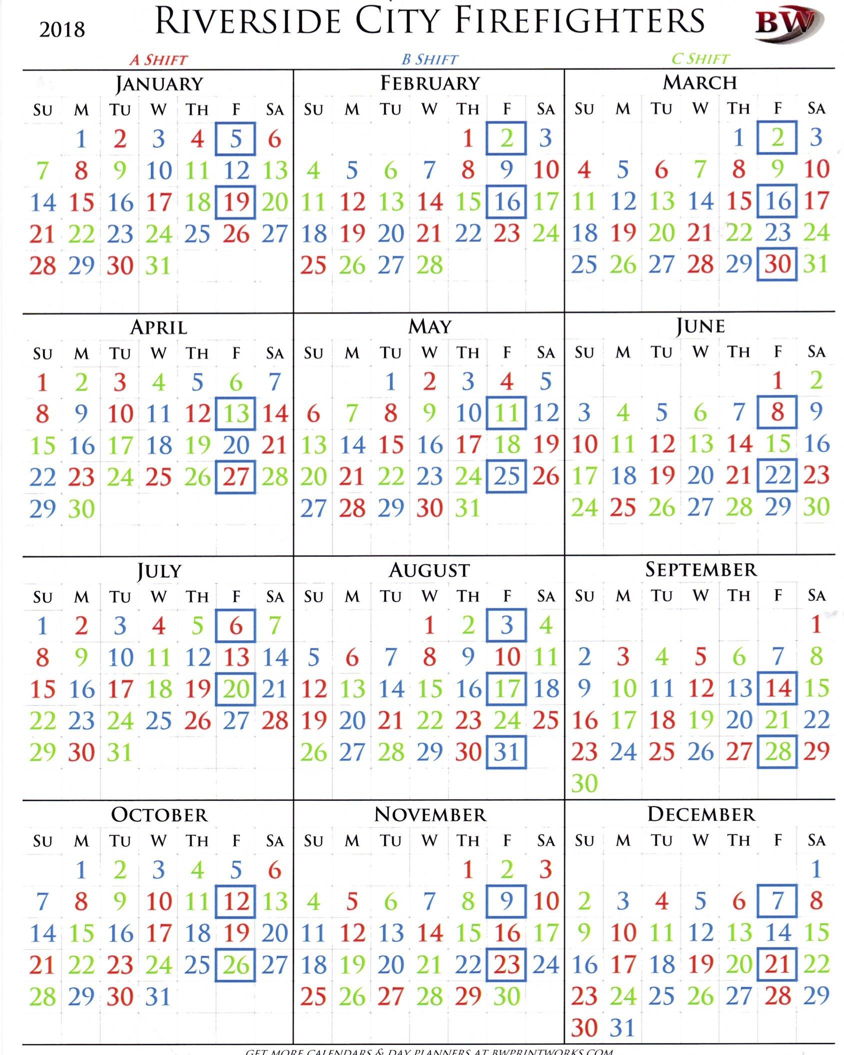 2018 Shift Calendar – Riverside City Firefighters Association B Shift Calendar 2019